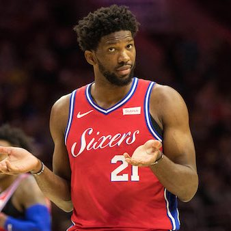 Nov 1, 2018; Philadelphia, PA, USA; Philadelphia 76ers center Joel Embiid (21) reacts to a LA Clippers foul during the third quarter at Wells Fargo Center. Mandatory Credit: Bill Streicher-USA TODAY Sports